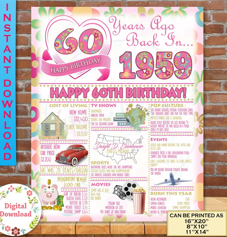 1959 Birthday Poster 60th Gift For Her Adult