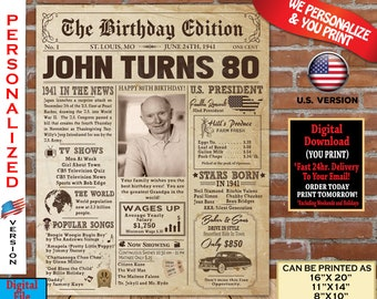 80th Birthday Poster NEWSPAPER  | 1941 Birthday Party Decoration Gift Sign Board | AUTHENTIC Look Newspaper | Born in 1941 Personalized