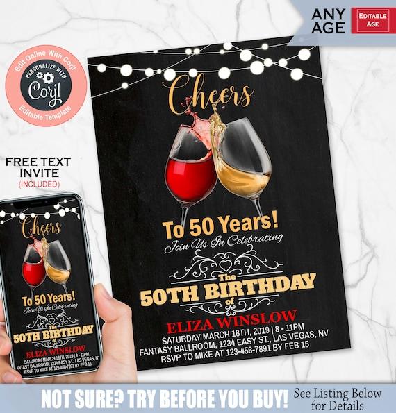 Adult Birthday Invitation Cheers Wine Milestone Adult Birthday Invite Chalkboard Instant Download Printable Editable Template