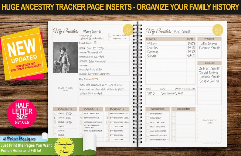 Genealogy Tracker   HALF Letter Size   Ancestry Planner Insert Pages    Printable with Family Tree Pages, Organizer, Scheduler and Much More