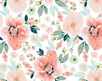 111b31257 Floral Crib Sheet - Floral Bedding   Watercolor Florals in Pink and Greens  Fitted  Crib Sheet / Changing Pad Cover / Mini crib sheet /