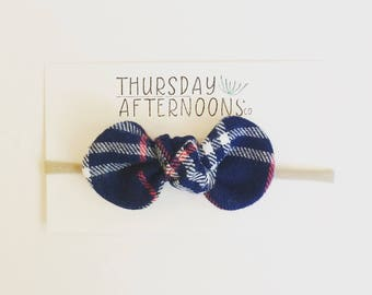 Blue Plaid Knotted Bow| nylon bow headbands: Blue headbands/Grey headband/ Plaid bow/girls headband/toddler headbands/ baby bows