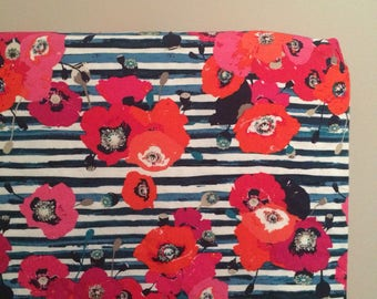 Floral and Navy Stripes Floral Crib Sheet|Fitted crib sheet/Changing pad cover/Mini crib sheet/Standard pillowcase