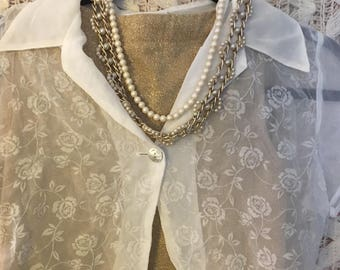 FREE Shipping June(domestic only)Creamy White Sheer Blouse by Anchor Blue/Size M
