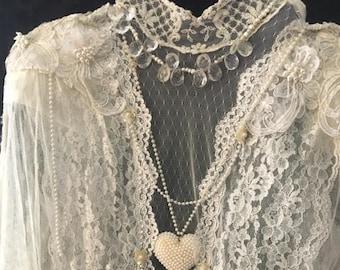 Lavish Ecru Lace /Drop Waist 1920's Inspired/Vintage 90'S Sophisticated Elegance/Size 10