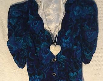 Blue Vintage 1980's/Dressy Floral Skimmer/ by Petite Jazz/ Size 8