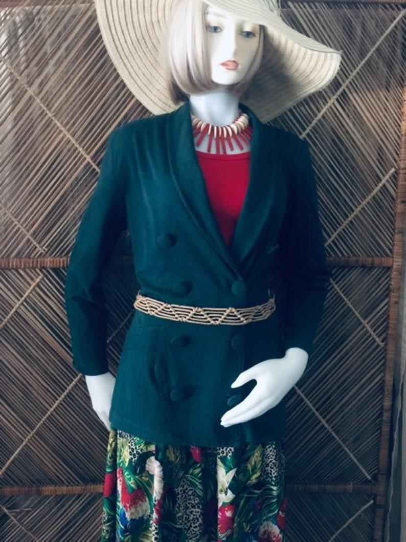 3 PieceJungle Animal Print Maxi Skirt Circa 1975 Size SGreen Jersey Blazer /& Red Cotton Jersey Stretch Tank Top