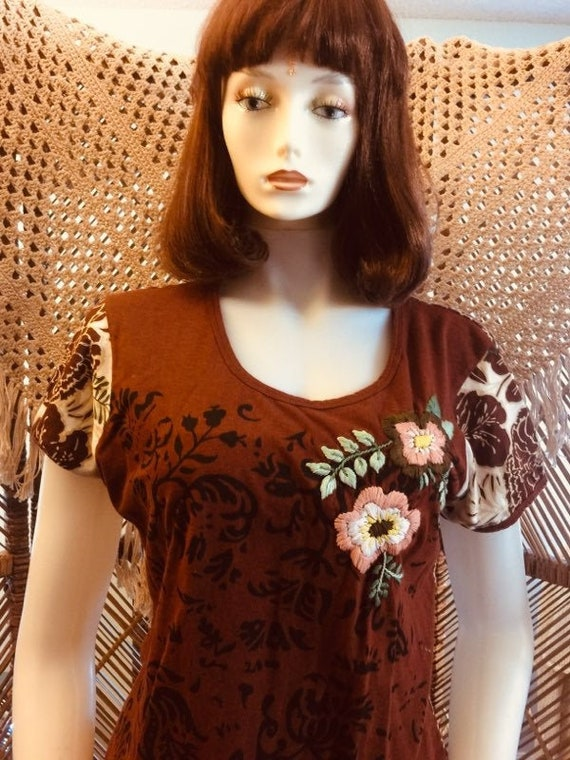 Rust Brown Floral Cotton Stretch Embroidered Jerse