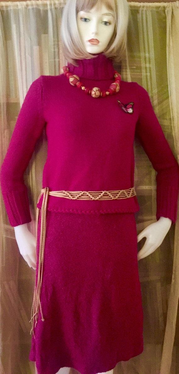 """2Pc /Fuchsia Turtle Neck Sweater & """"Poodle Cloth"""""""