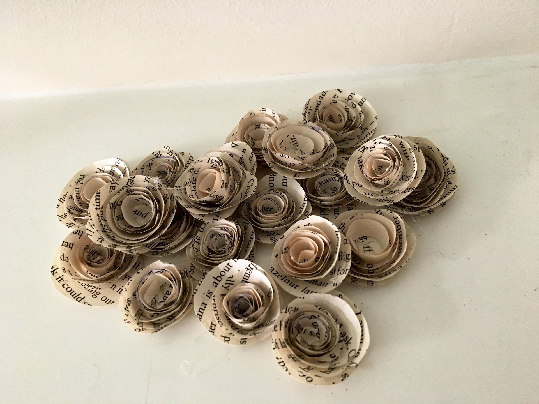 20 handmade book paper rolled roses wedding flowers table etsy zoom mightylinksfo