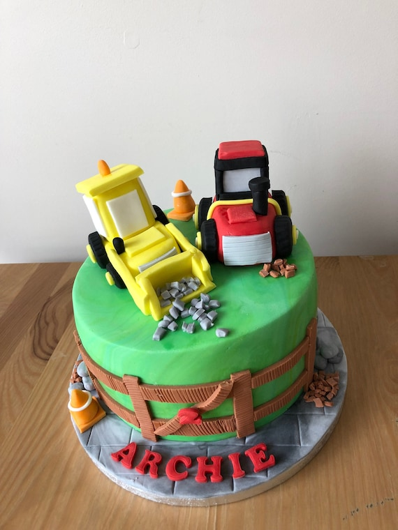 Admirable Digger Cake Topper Tractor Cake Topper Cake Topper Birthday Etsy Personalised Birthday Cards Beptaeletsinfo
