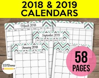 printable calendar 2018 calendar set 2018 calendar template blank 2018 calendar planner calendar refill 2018 planner refill calendar