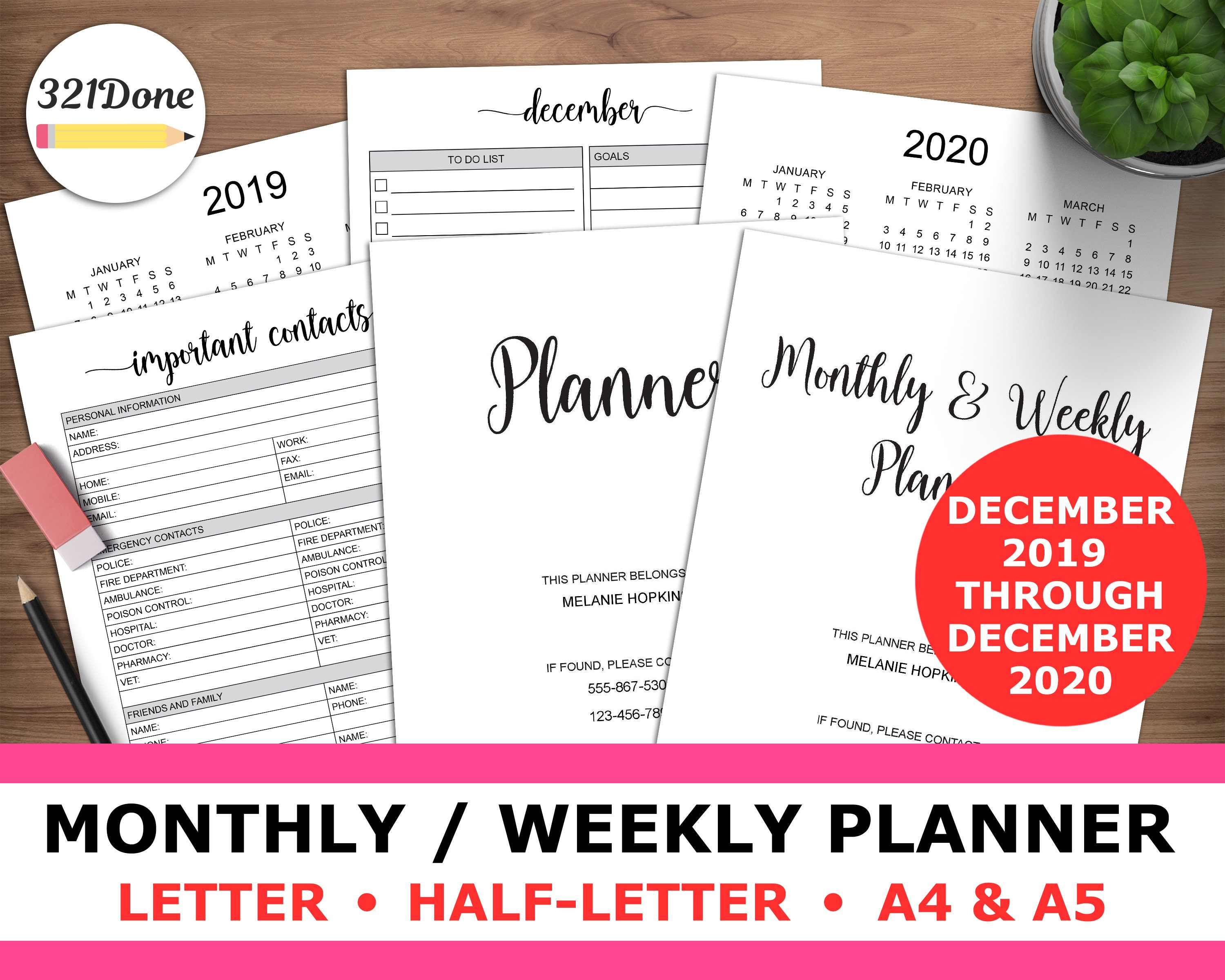 photo about Weekly Planning Sheets referred to as 2020 Planner Printable Regular Weekly Planner Inserts for 2020 Thirty day period 7 days Refill Web pages Minimalist Building Sheets Letter A5 A4 PDF