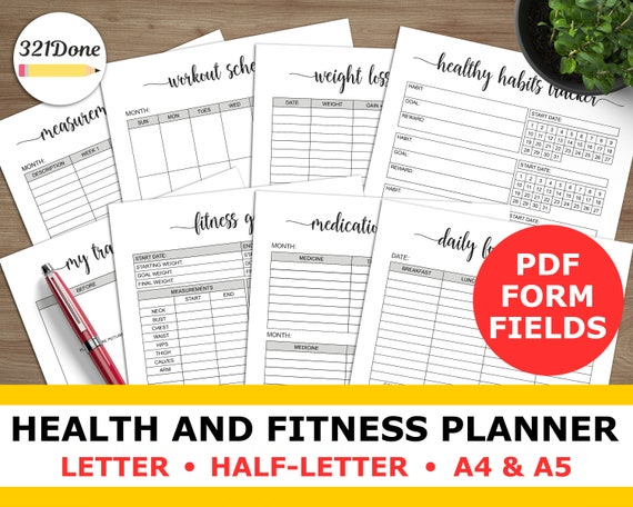 health planner and fitness plan exercise tracker workout log etsy