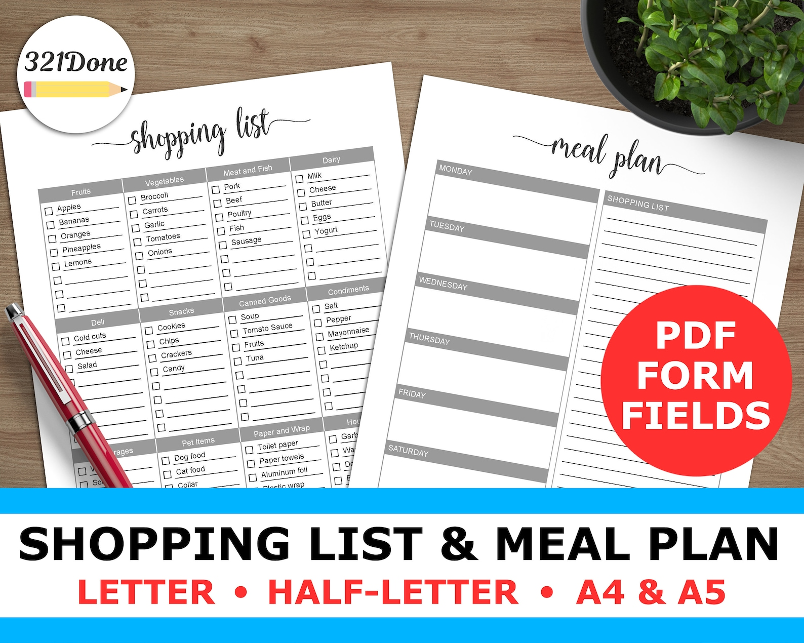 Meal Plan and Grocery Shopping List