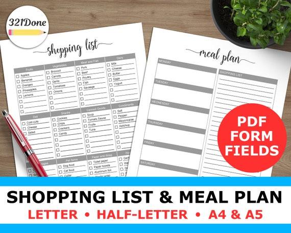 Speiseplan und Einkaufen Liste druckbare Menü Planung Blätter | Etsy