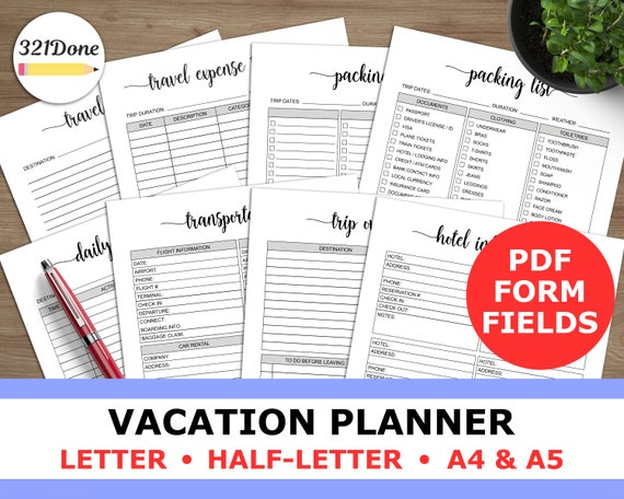 vacation planner printable travel plan with packing list etsy