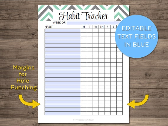 Set of Habit Tracker Files Printable Habits Tracking List | Etsy