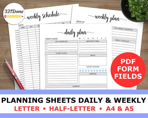 daily planner weekly planning day to do scheduling daily plan etsy