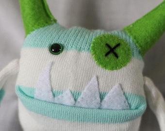 Sock Monster – Aqua & Lime – Pocket Size