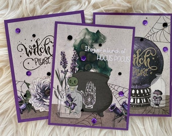 Set of 3 Handmade Halloween Cards, It's Just A Bunch Of Hocus Pocus Card Set, Handmade Halloween Greeting Cards