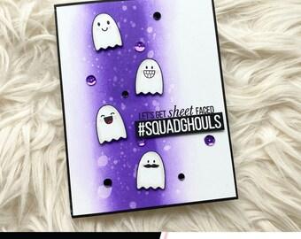Let's Get Sheet Faced Ghost Birthday Card, October 31st Birthday Card, Handmade Halloween Cards