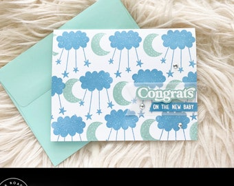 Congrats On The New Baby, Handmade Baby Shower Cards, Baby Boy Greeting Card