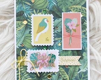Party Animal Birthday Card, Handmade Birthday Cards, Tropical Greeting Card
