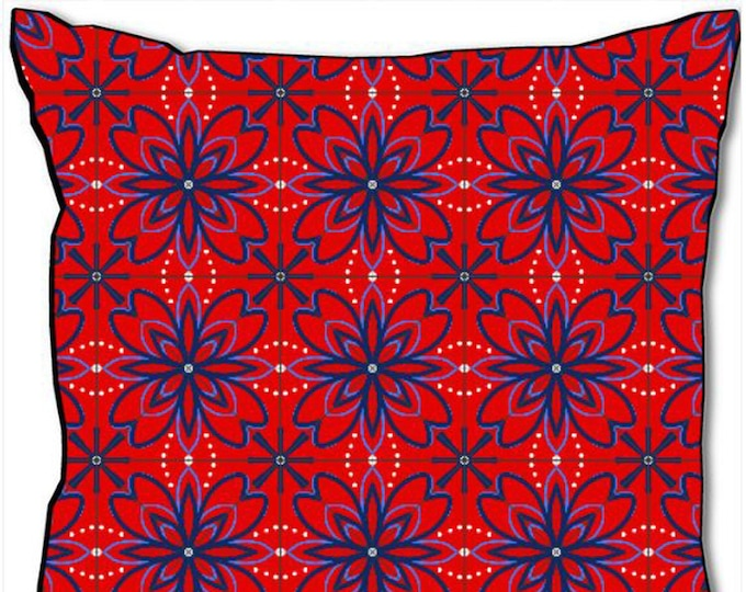 Blue floral tile pattern on red background, 45x45 cm square cushion, designer home decoration, soft interior furnishing, by SusyRDesign