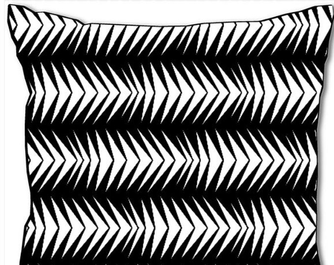 Black and white colour, abstract arrow design by SusyRDesign, 45x45 cm, cushion and cover, unique, designer home decoration