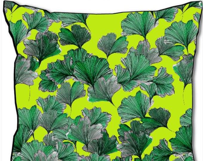 Ginkgo Biloba leaves on kiwi background, 45x45cm square cushion, black back, velvet satin cotton, designer home decoration by SusyRDesign