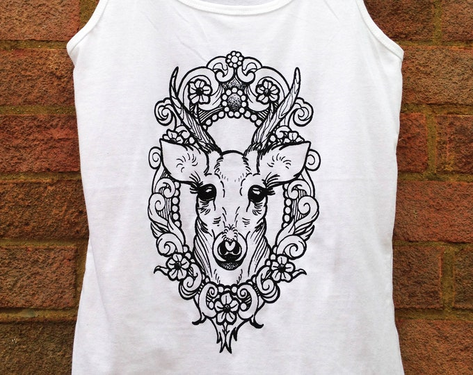 Ladie's tank top Hand printed by SUSYRTATTOO, DEER in cameo tattoo design on 100% cotton white softstyle TANKTOP, size: S