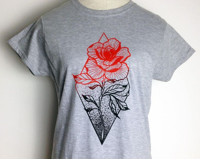 Ladie's tshirt, ROSE tattoo design, contemporary blackwork tattoo style, hand printed with 2 coloures onto ringspun 100% cotton GREY tshirt