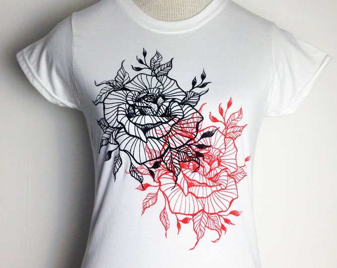 Ladie's tshirt, blackwork style double printed ROSE tattoo design hand printed by SUSYRTATTOO on 100% cotton ringspun white tshirt, Size: S