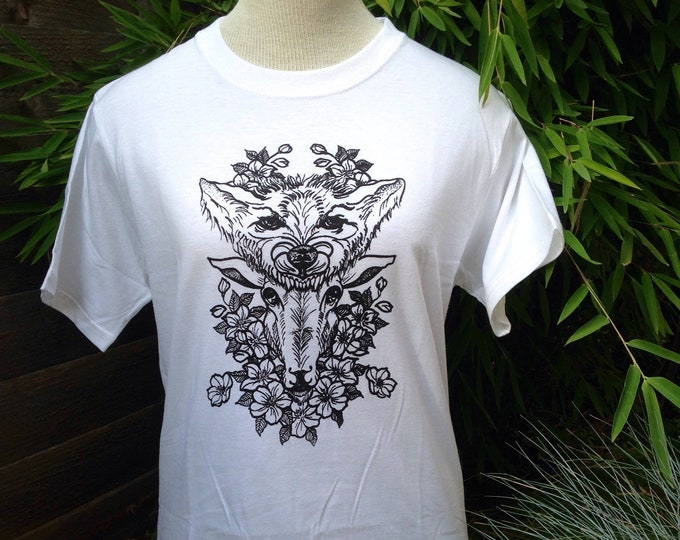 Unisex tshirt,  Hand printed by SUSYRTATTOO. One of a kind wolf and sheep tattoo design on 100% cotton white tshirt, size: S