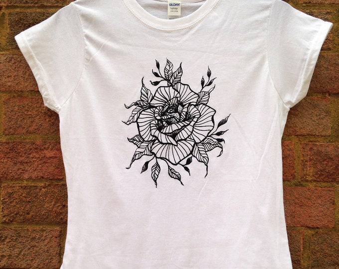 Ladie's tshirt, Handprinted by SUSYRTATTOO, ROSE blackwork style tattoo design on 100% cotton tshirt - White, Size: S