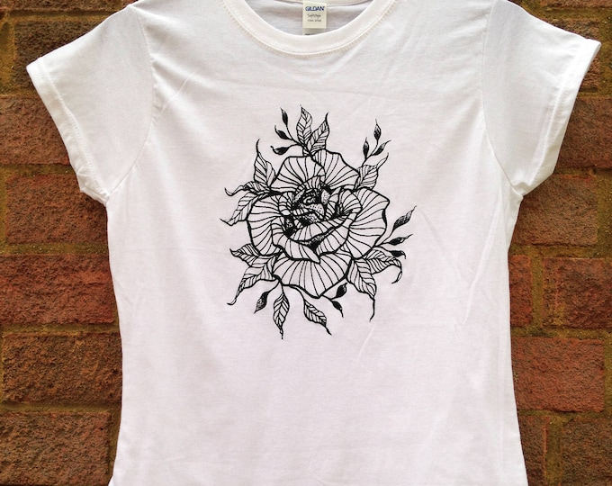Ladie's tshirt, Handprinted by SUSYRTATTOO, ROSE blackwork style tattoo design on 100% cotton tshirt - White, Size: S