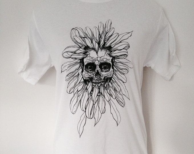 Skull in chrysanthemum flower, tattoo inspired blackwork style design, handprinted by Susyrtattoo onto cotton unisex white Tshirt, size: S