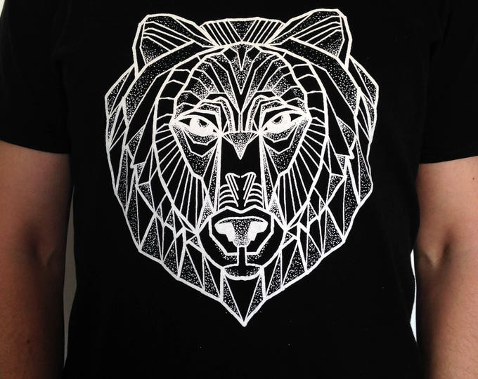 Unisex tshirt, Hand printed by SUSYRTATTOO. One of a kind blackwork style bear tattoo design on 100% cotton tshirt, Colour and Size: Various