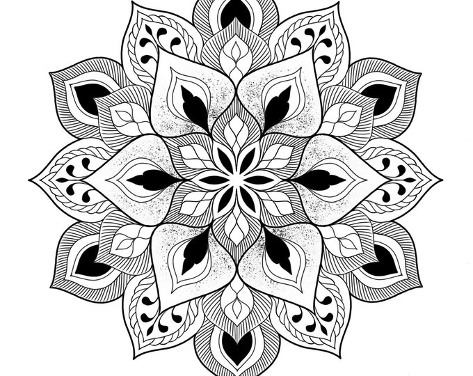 Line drawing of a mandala for colouring 010, digital file, A4 size
