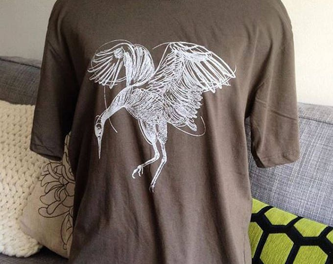 Unisex tshirt, Hand printed by SUSYRTATTOO. One of a kind dancing crane tattoo design on 100% cotton KHAKI tshirt, Size: Various