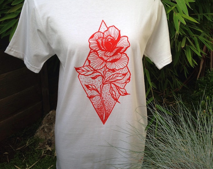 Unisex Tshirt, ROSE tattoo design in blackwork tattoo style hand printed with RED fabric ink onto 100% cotton white tshirt, size: S