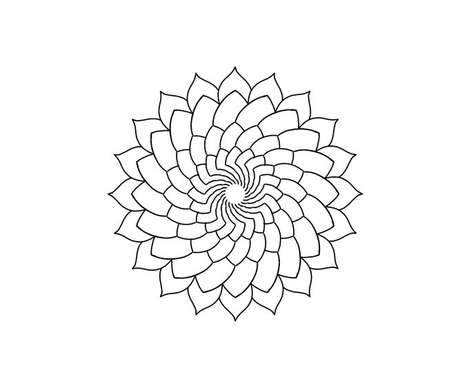 Line drawing of a mandala for colouring 008, digital file, A4 size