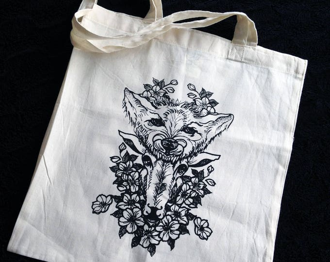 Hand printed by SUSYRTATTOO. One of a kind wolf and sheep tattoo design on 100% cotton natural tote bag, Size: 38x42 cm