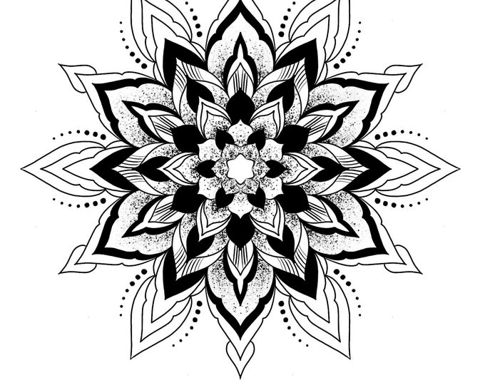 Line drawing of a mandala for colouring 007, digital file, A4 size