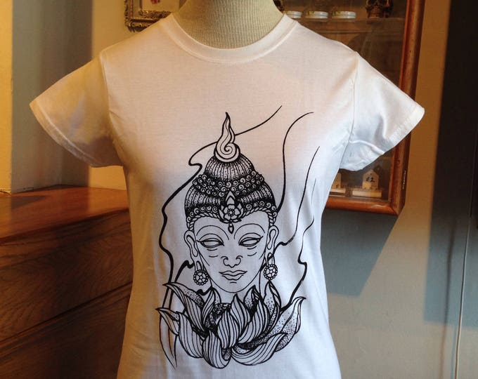 Ladie's tshirt, Hand printed by SUSYRTATTOO. Blackwork style BUDDHA tattoo design on 100% cotton softstyle tshirt, Colour & Size: Various