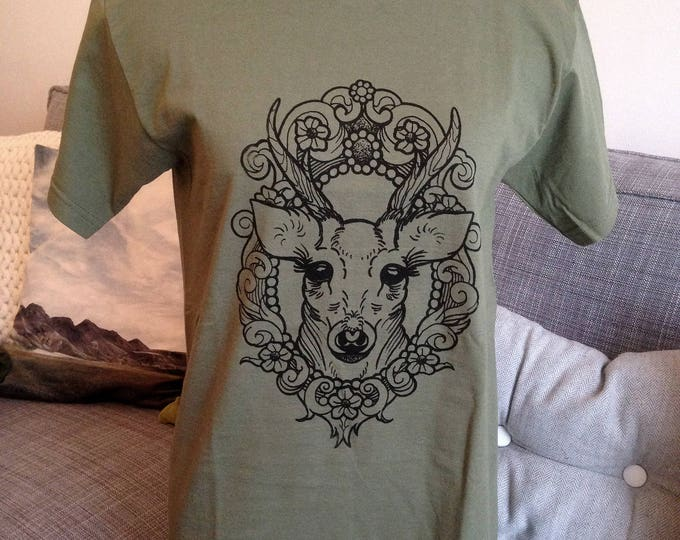 Unisex tshirt, DEER in cameo tattoo design Hand printed by SUSYRTATTOO, 100% cotton Fruit of the Loom OLIVE tshirt