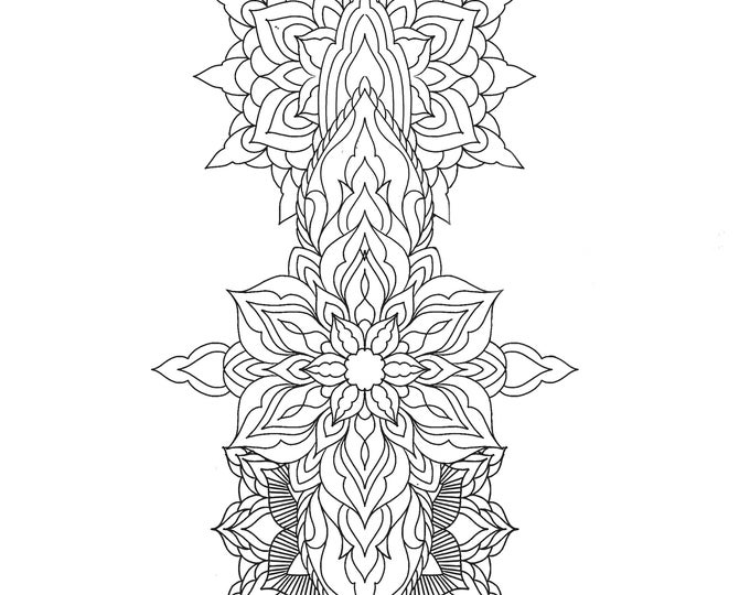 Line drawing of a mandala for colouring 009, digital file, A4 size