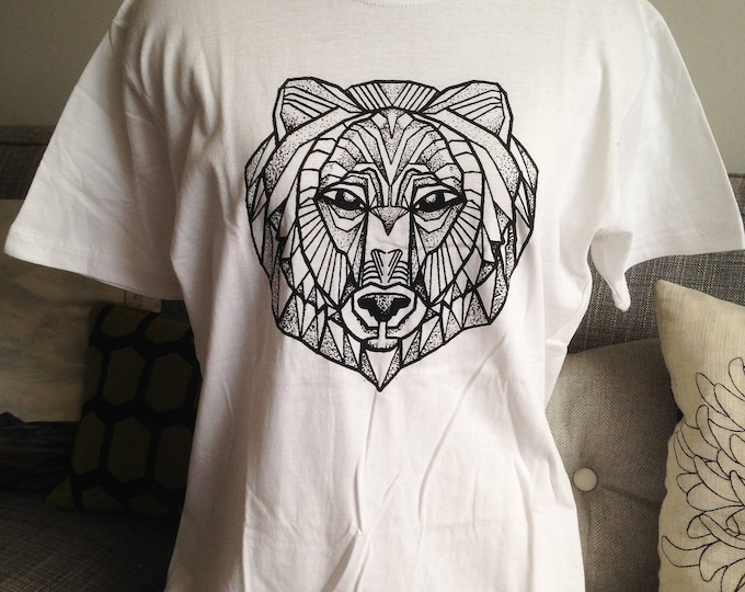 Unisex tshirt, Hand printed by SUSYRTATTOO. One of a kind blackwork style bear tattoo design on 100% cotton WHITE tshirt