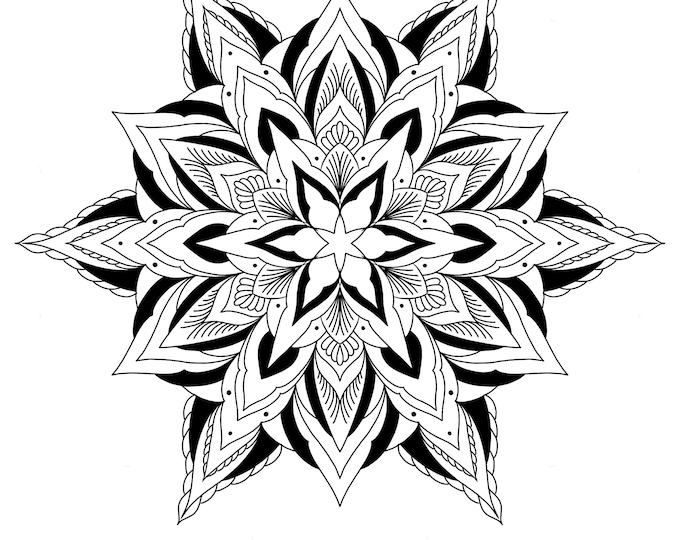 Line drawing of a mandala for colouring 005, digital file, A4 size